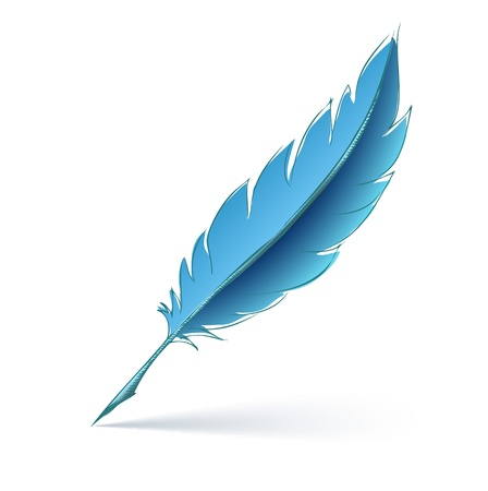 writers: blue feather pen