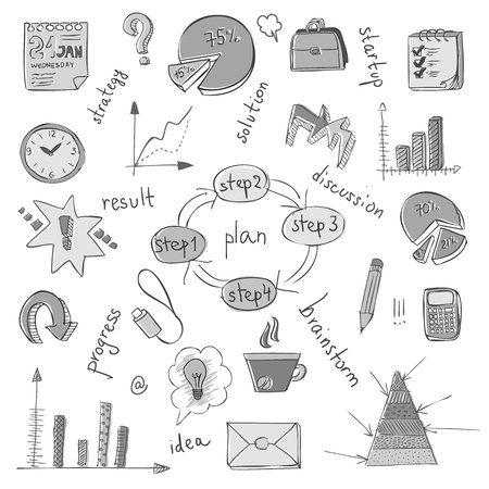 business plan: business doodles Illustration
