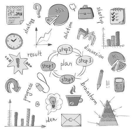 productividad: Garabatos de negocios Vectores