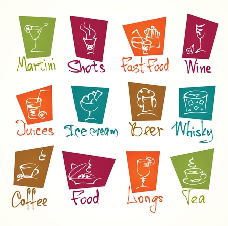 cafe menu hand draw icons in color Vector