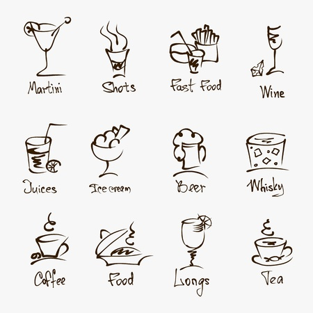 cafe menu hand draw icons on white Stock Vector - 19392373