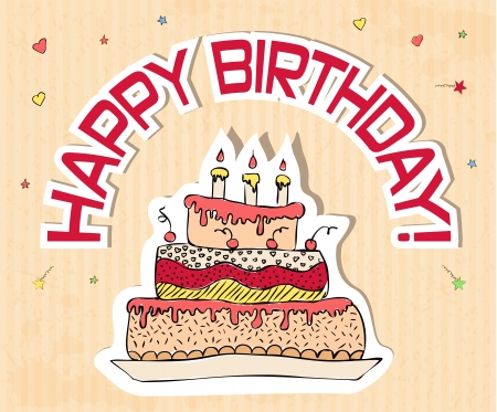 birthday card with big cake illustration Vector