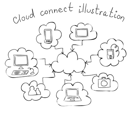 cloud computing hand drawn illustration  Vector