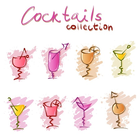 cocktail doodles  Vector