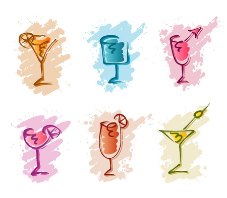 cocktail krabbels Stock Illustratie