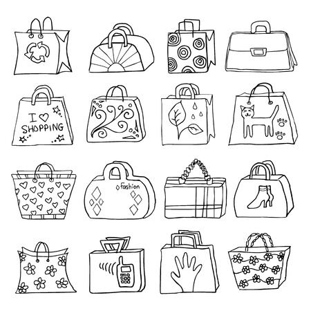 shopping carriage: collection of hand drawn l bags