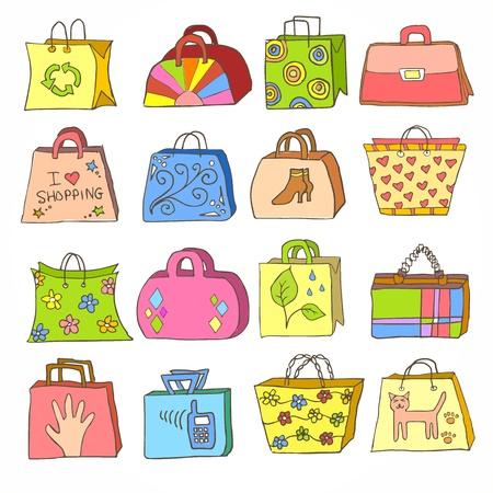 shopping carriage: collection of hand drawn colorful bags