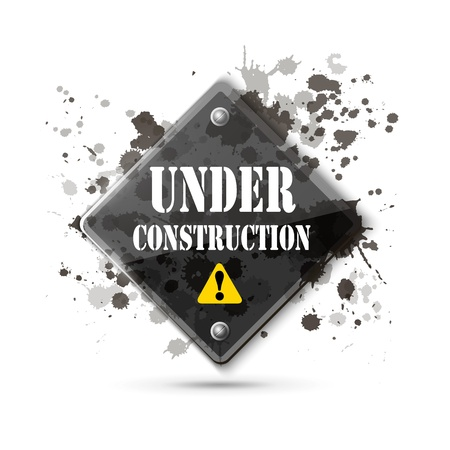 under construction road sign: under construction sign on white   Illustration