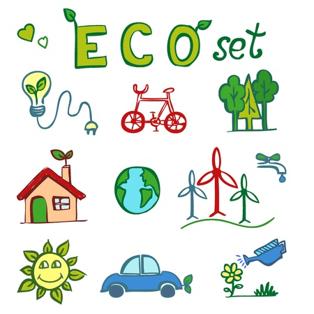 Eco hand drawn doodles   Vector