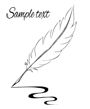 feather pen making line sketch Vector