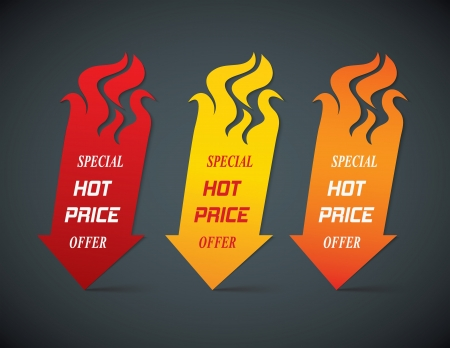 hot deal: fire arrows offer icons illustration Illustration