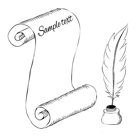 ink pot: papel con pluma de la pluma y el tintero boceto Vectores