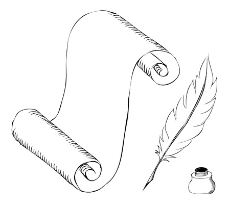 paper with feather pen and ink pot sketch Vector