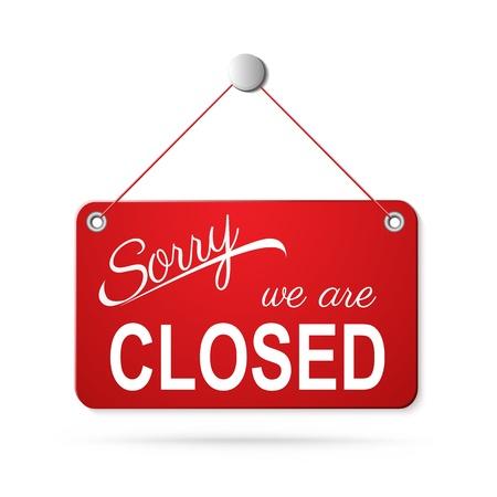 uithangbord: rood gesloten teken op wit Stock Illustratie