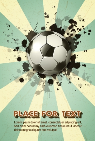 soccer ball on vintage background   Vector