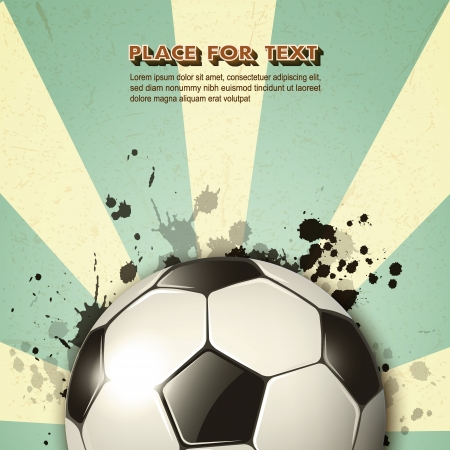 soccer field: soccer ball on vintage background Illustration