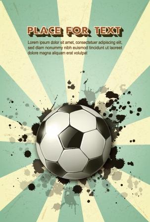 soccer ball on vintage background  Illustration