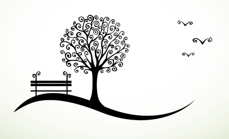 banc de parc: fond abstrait avec dessin?s ? la main des ?l?ments de turbulence Illustration