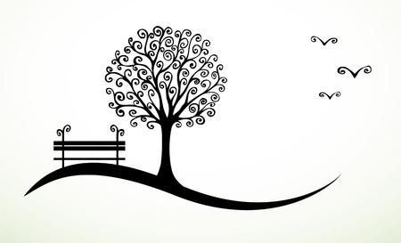 albero stilizzato: sfondo astratto con mano disegnato elementi di ricciolo Vettoriali