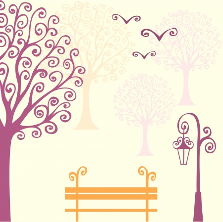 bench alone: abstract background with hand drawn swirl elements