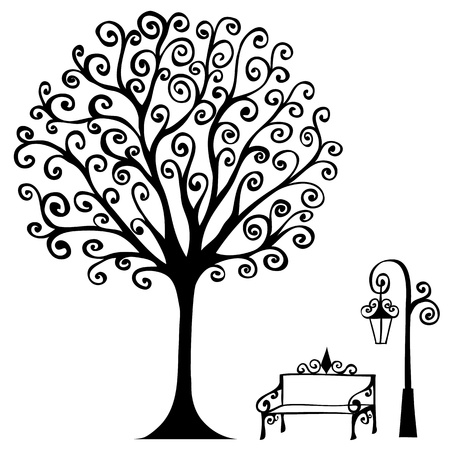 swirl hand drawn tree bench and lamp for your design   Vector