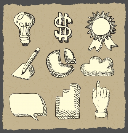 web icons hand drawn on dark paper   Vector