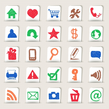web icons hand drawn on paper stickers Stock Vector - 19390063