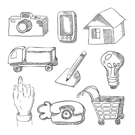 hotline: web pictogrammen de hand getekend op wit Stock Illustratie
