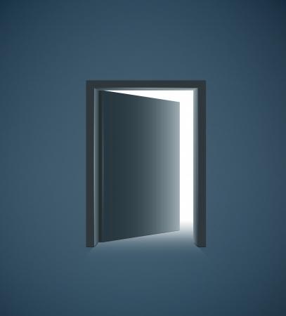 Open door with white light in a dark room  illustration