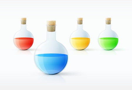 Different  laboratory glassware with color liquid and transparent glass   illustration Stock Vector - 19397360