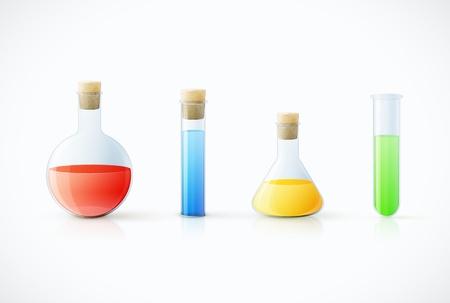 Verschillende laboratoriumglaswerk met kleur vloeistof en transparant glas illustratie Stock Illustratie
