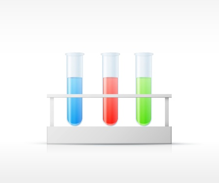 Different  laboratory glassware with color liquid and transparent glass illustration Stock Vector - 19393511