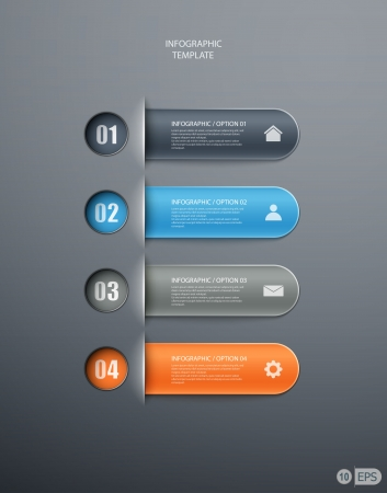 infographics options banner for workflow layout, diagram, number options, web design. illustration Vector