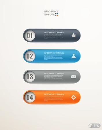 Možnosti infografiky banner na uspořádání pracovního postupu, schéma, možnosti číslo, web design. ilustrace