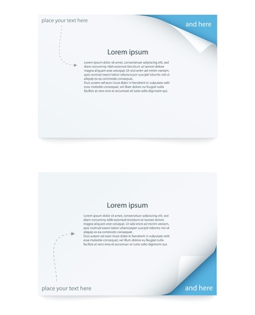blue paper card with curled corner Vector