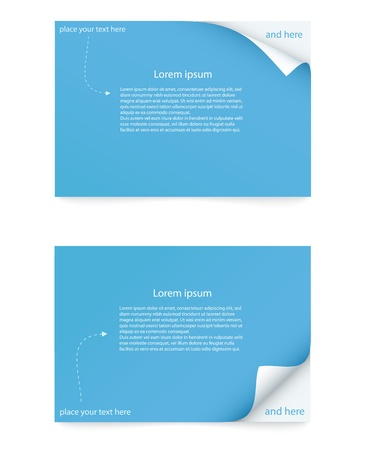 curled corner: blue paper card with curled corner