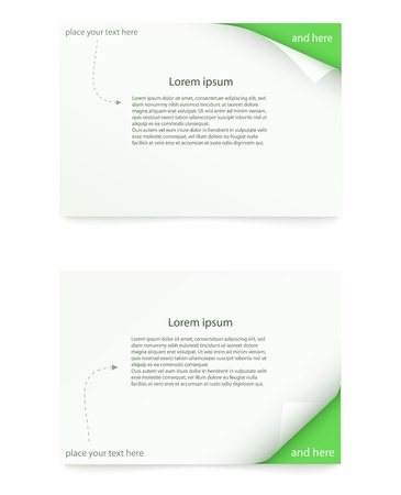 green paper card with curled corner Vector