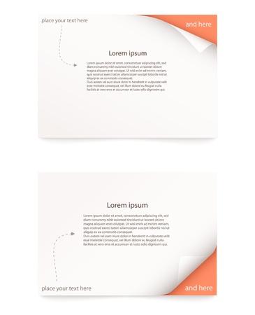 oranje papieren kaart met gekrulde hoek