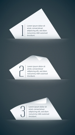 white paper cards with curled corners and infographic steps Vector