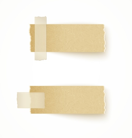 recycled paper: paper labels attached with sticky tape on white background