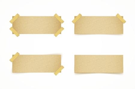 sticky tape: etiquetas de papel atado con cinta adhesiva en el fondo blanco Vectores