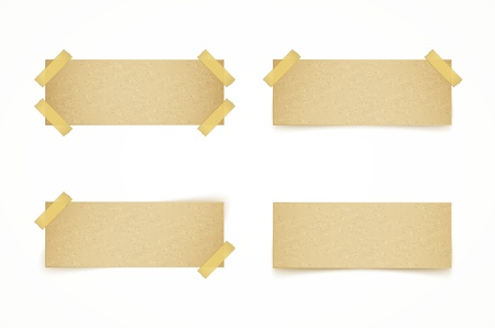 paper tag: paper labels attached with sticky tape on white background