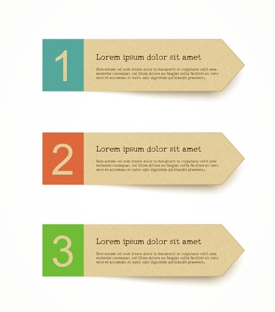 blank note tag: recycled paper label set with infographic steps