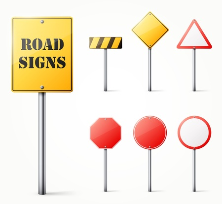 safety circle: Set of road signs   illustration