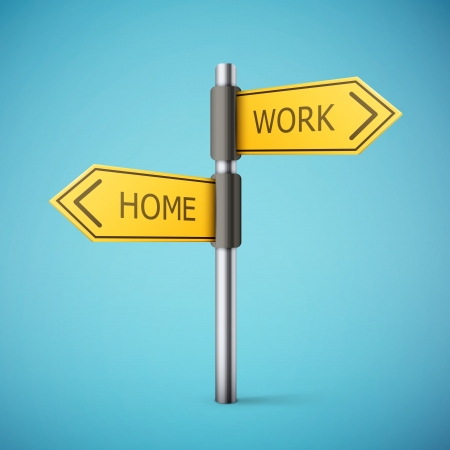 two way: direction road sign with home and work words illustration