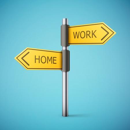 richting verkeersbord met huis en werk woorden illustratie
