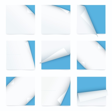 curled corner: blue set of note paper with curled corner