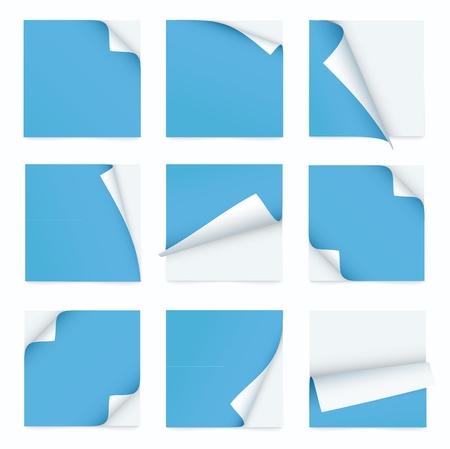 paper curl: serie azul de la nota de papel con la esquina encrespada