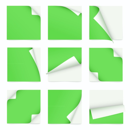 green set of note paper with curled corner Vector