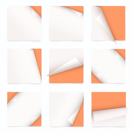 orange set of note paper with curled corner Illustration